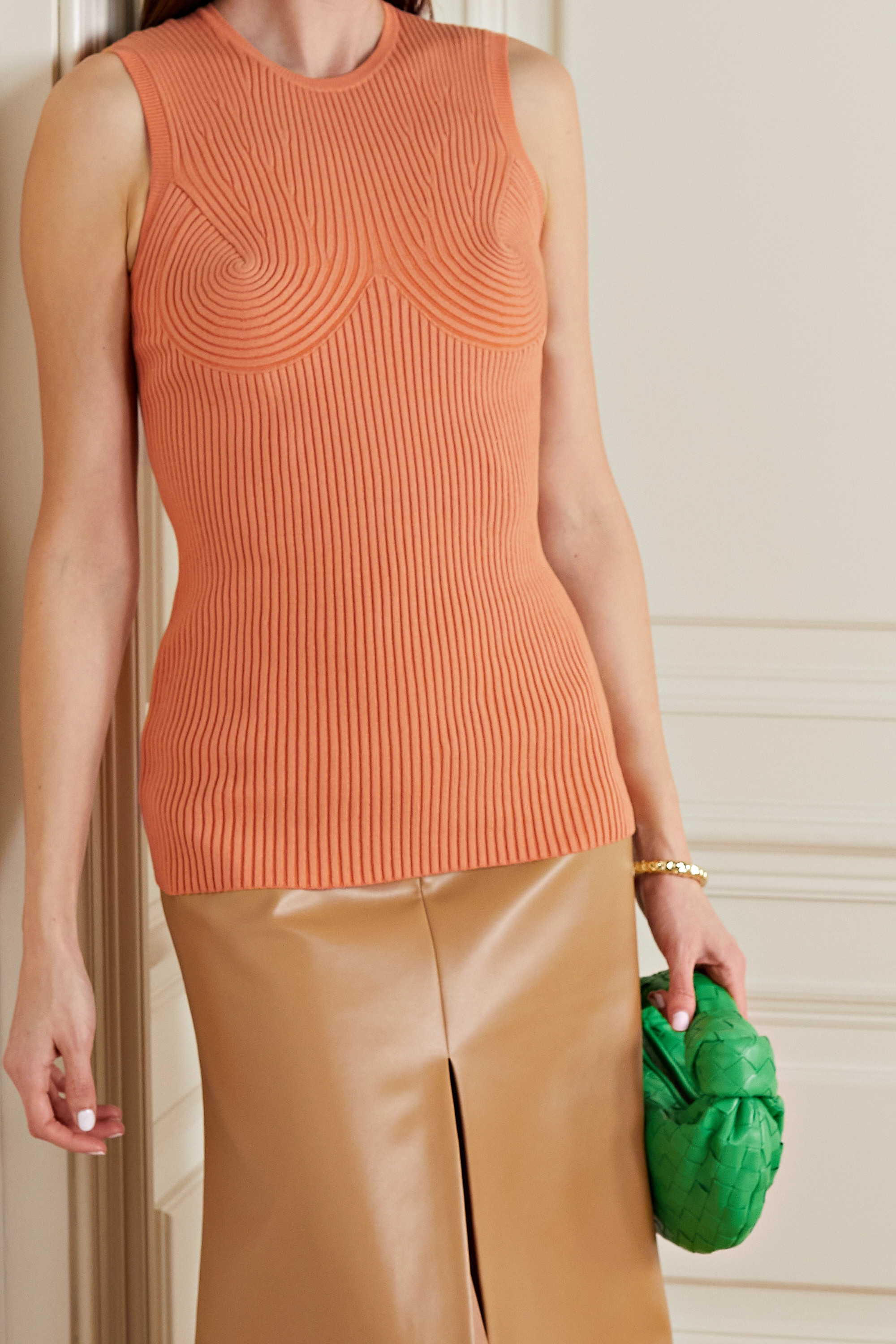 Stella McCartney Ribbed organic cotton-blend top