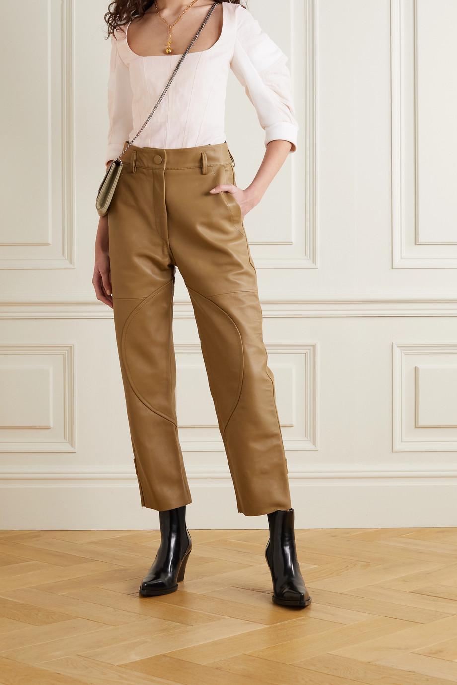 Stella McCartney Fiona paneled organic cotton-twill and jersey blouse