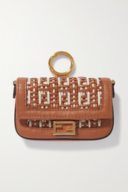 Fendi Baguette nano woven leather bag charm