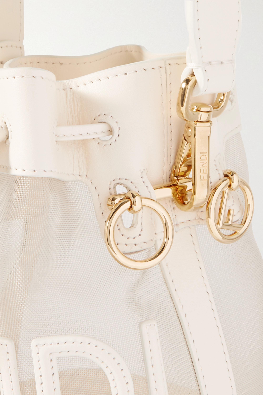 Fendi Mon Tresor mini Beuteltasche aus Mesh mit Lederbesätzen