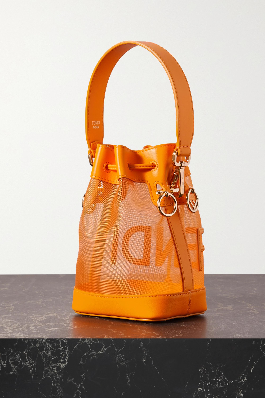Fendi Mon Tresor mini leather-trimmed mesh bucket bag