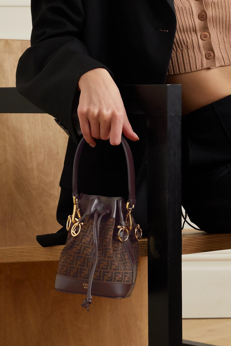 Fendi Mon Trésor mini leather-trimmed printed suede bucket bag
