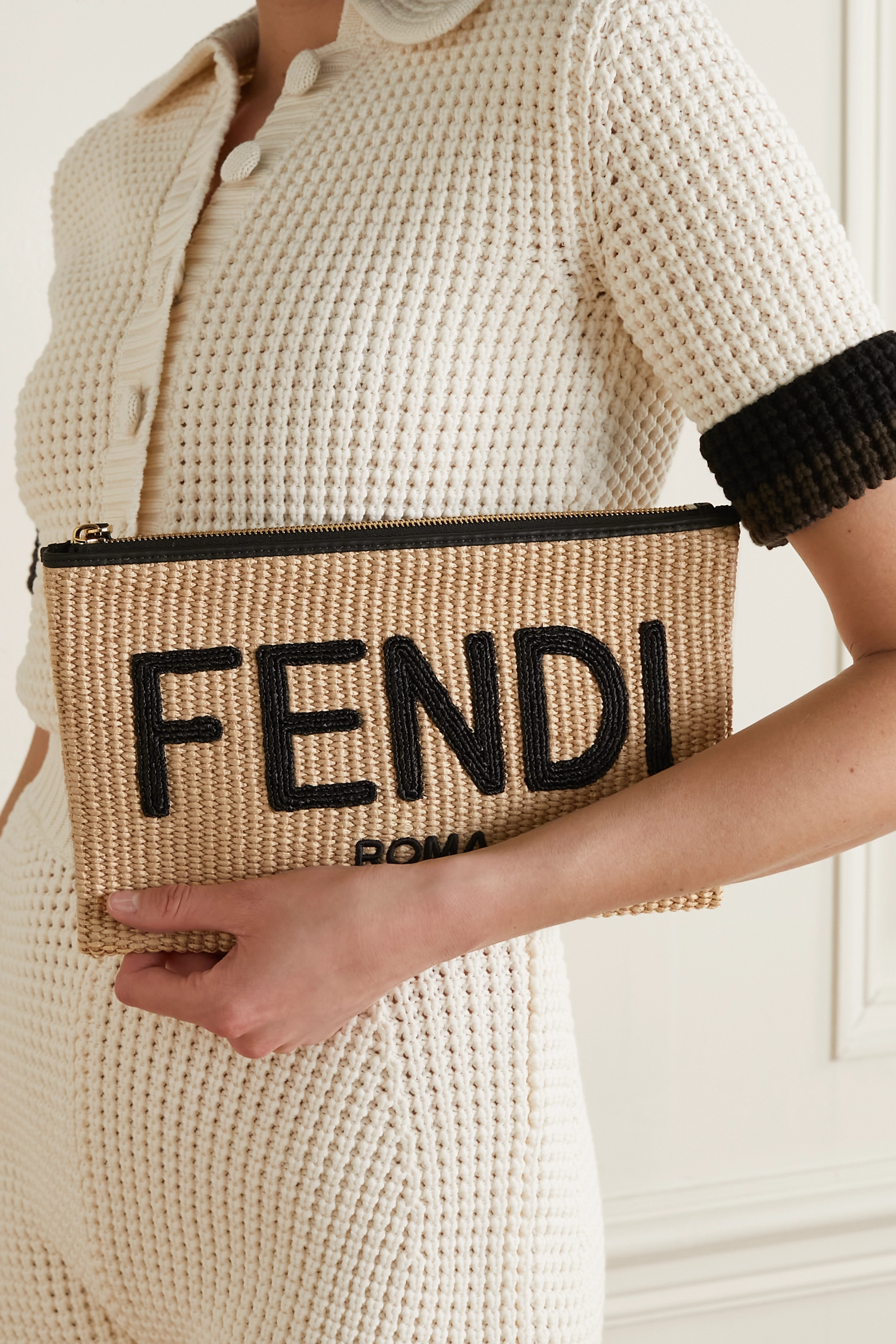 Fendi Leather-trimmed raffia pouch