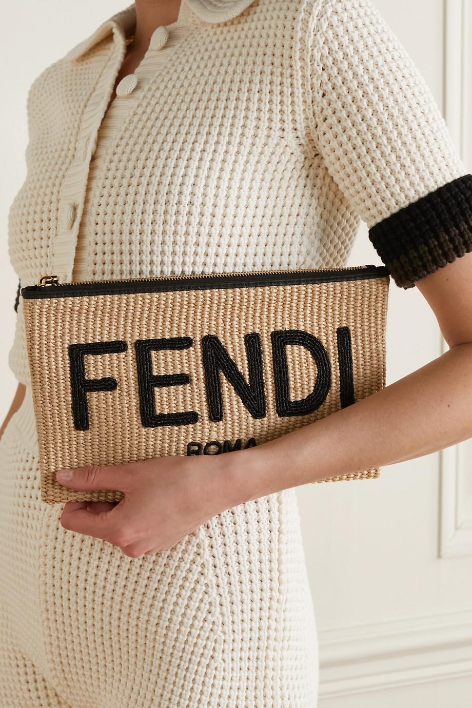 Fendi Leather-trimmed raffia pouch