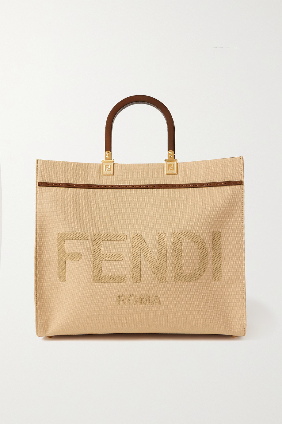 Fendi Sunshine medium leather-trimmed embroidered canvas tote