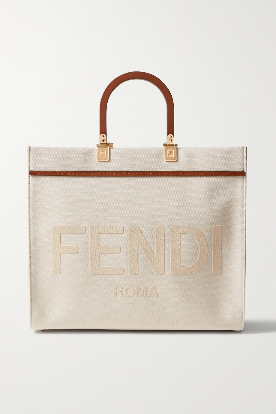 Fendi Sunshine medium leather-trimmed appliquéd canvas tote