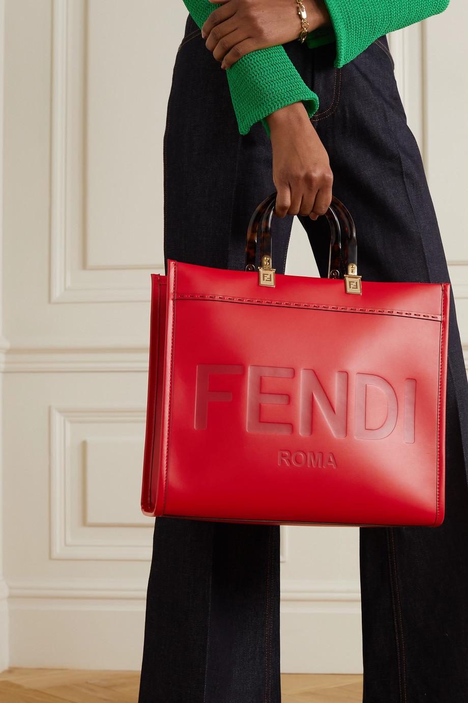 Fendi Sunshine medium debossed leather tote