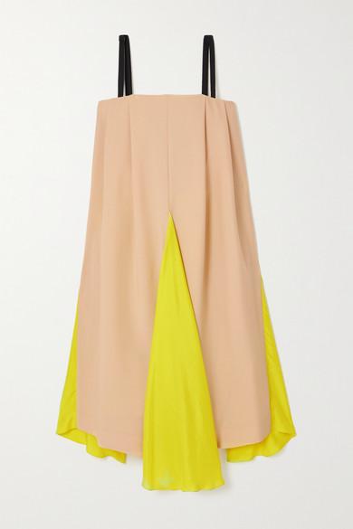 Nina Ricci PANELED WOOL AND MOHAIR-BLEND AND SILK DRESS