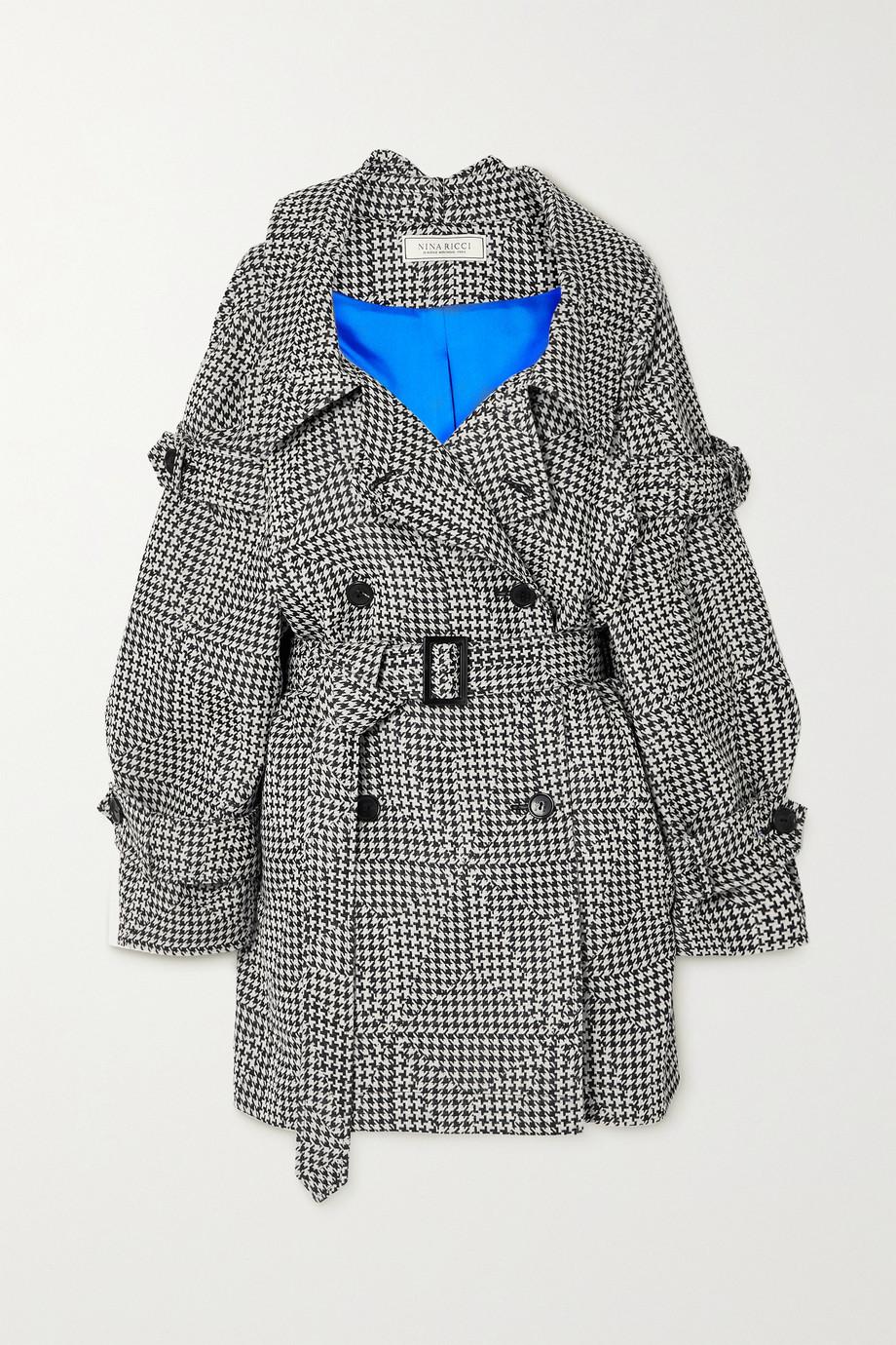 Nina Ricci Off-the-shoulder belted houndstooth wool coat