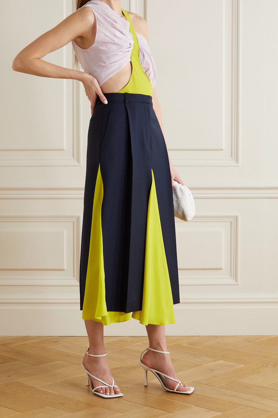 Nina Ricci Paneled wool and mohair-blend and silk midi skirt