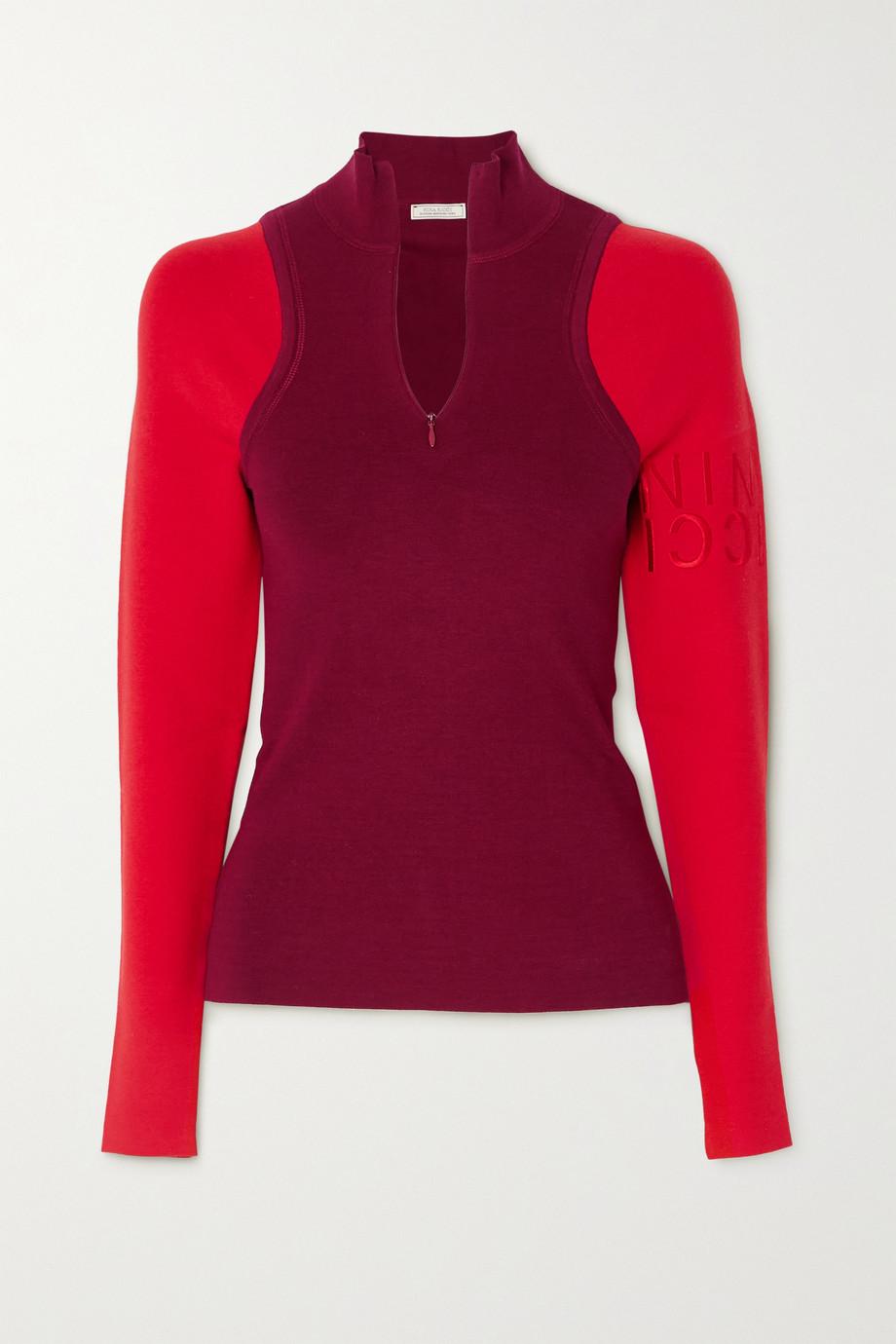 Nina Ricci Zweifarbiger Pullover aus einer Stretch-Seidenmischung mit Stickerei
