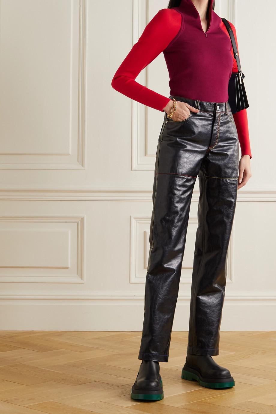 Nina Ricci Pull en soie mélangée stretch bicolore à broderies