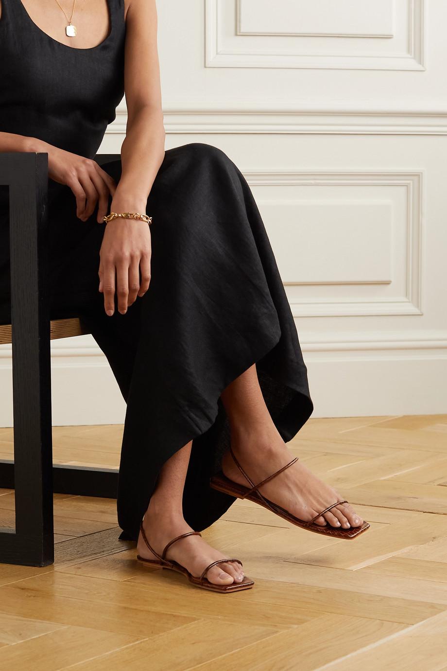 ST. AGNI Sandales à brides en cuir effet croco Pina - NET SUSTAIN