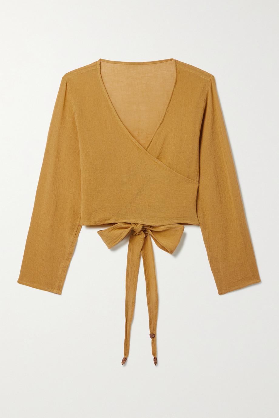 Caravana Lahun cropped cotton-gauze top
