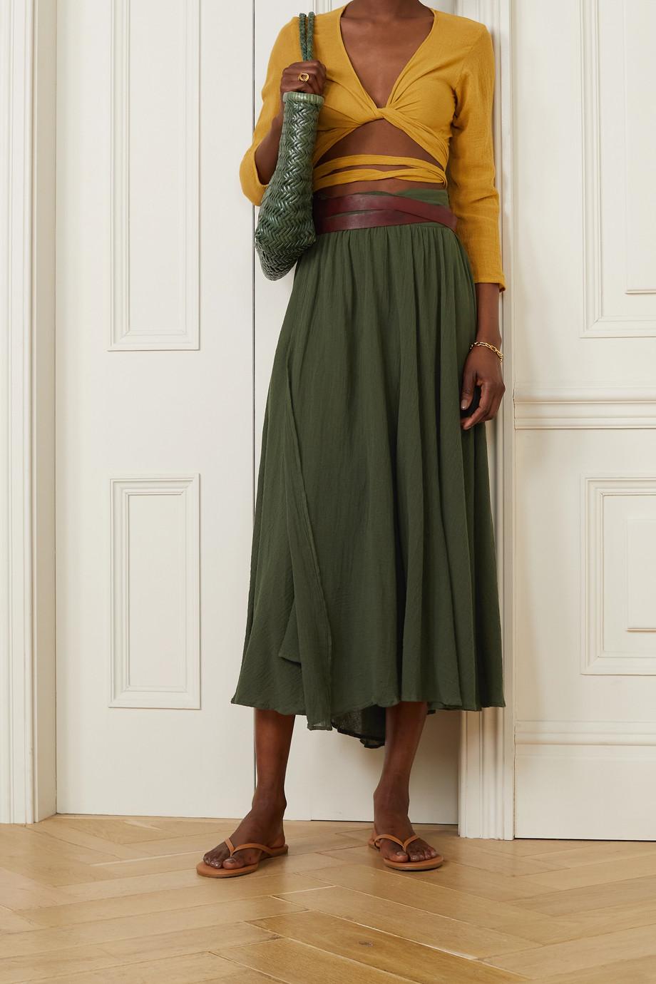 Caravana Cholul leather-trimmed cotton-gauze wrap maxi skirt