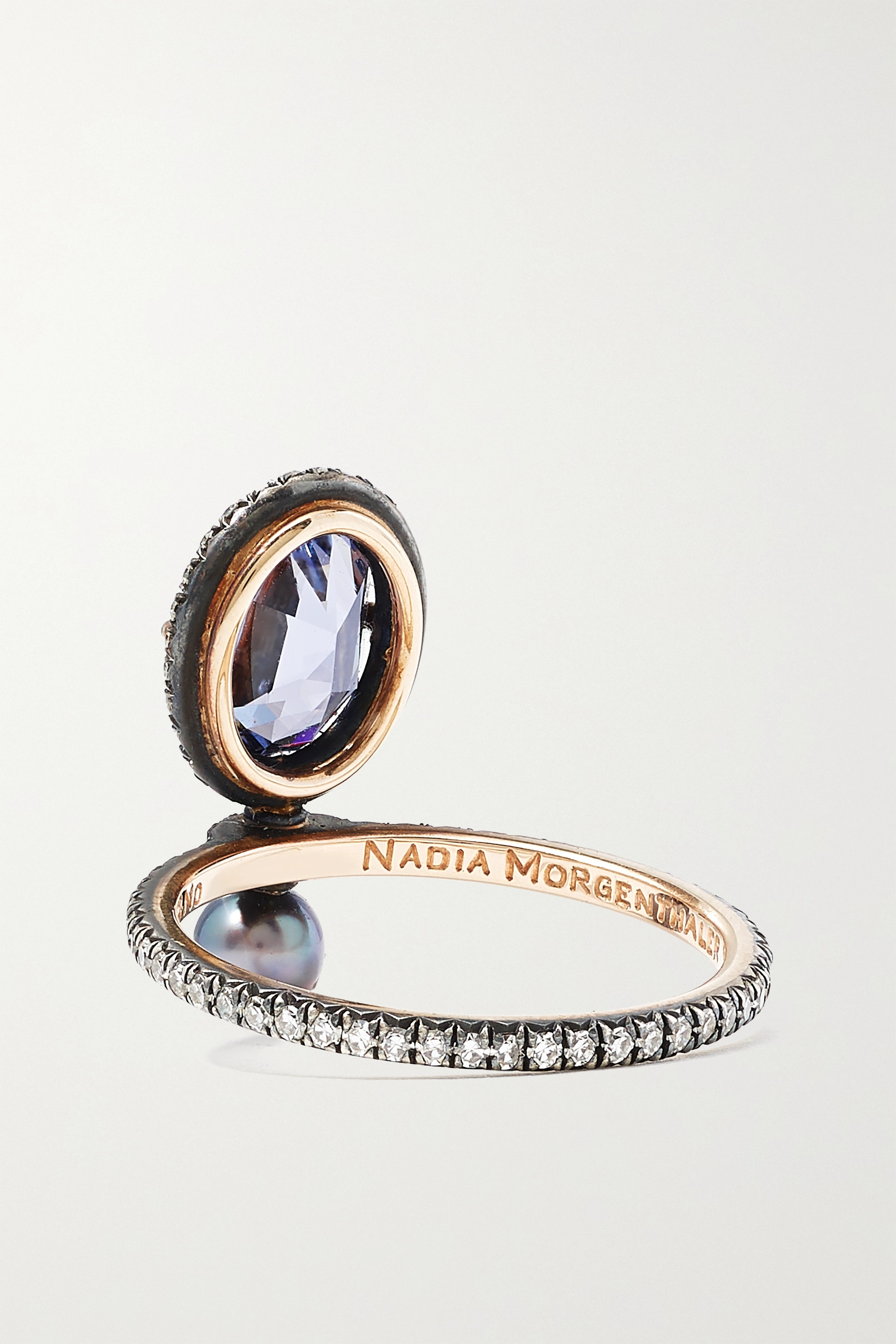 Nadia Morgenthaler + NET SUSTAIN 18-karat recycled red gold and blackened sterling silver multi-stone ring