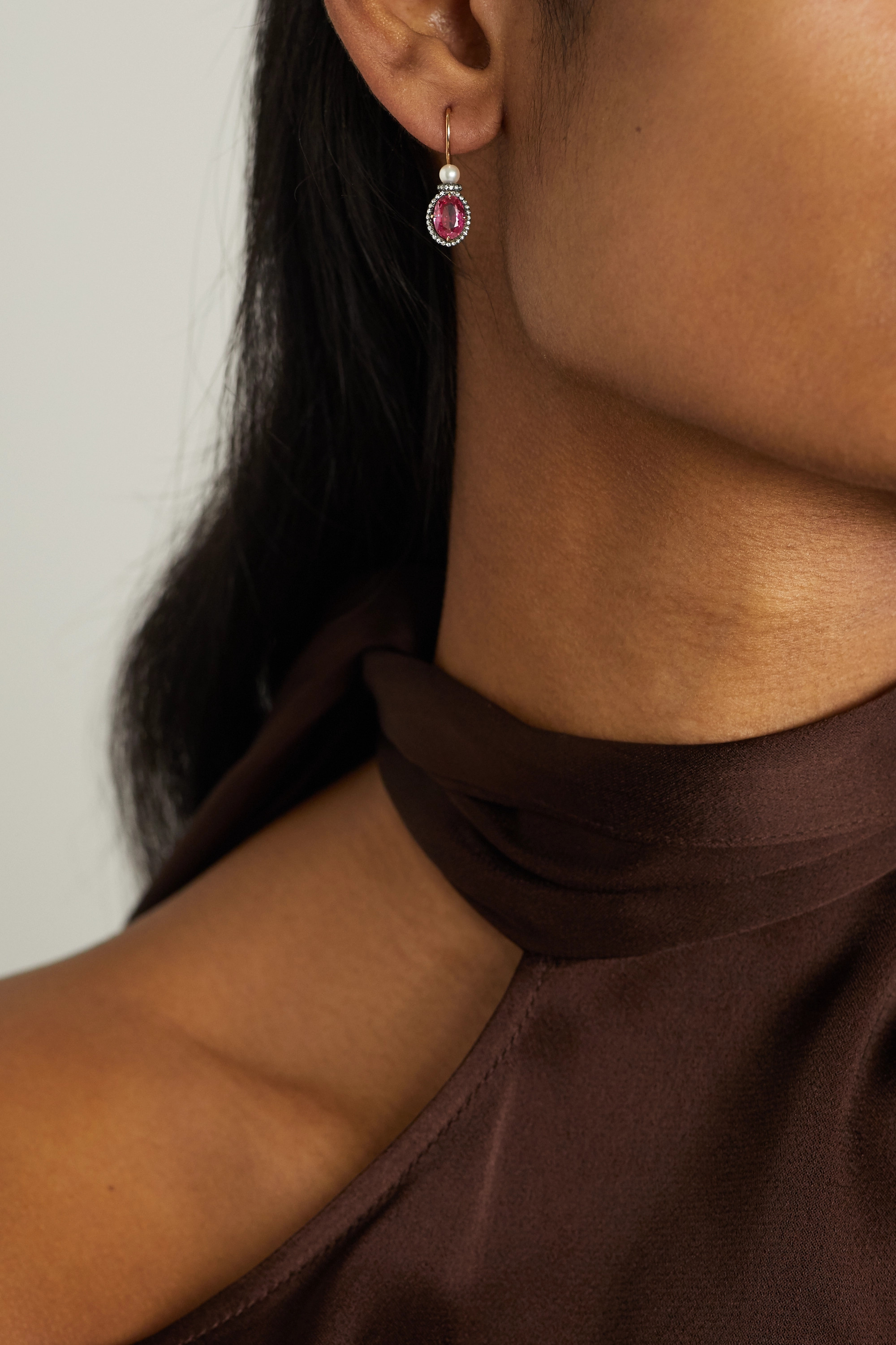 Nadia Morgenthaler + NET SUSTAIN 18-karat recycled red gold and blackened sterling silver multi-stone earrings