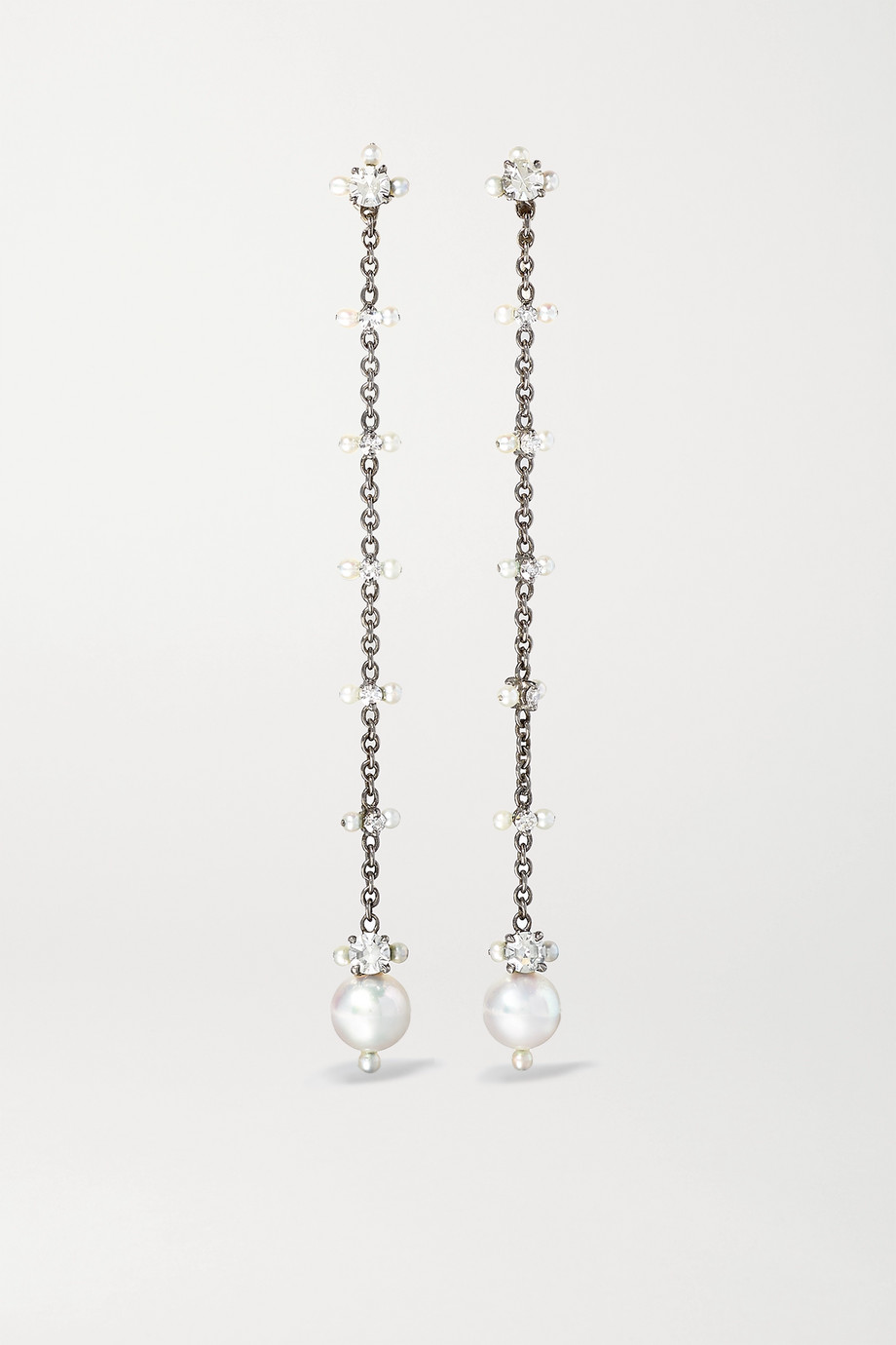 Nadia Morgenthaler + NET SUSTAIN 18-karat recycled blackened white gold, pearl and diamond earrings