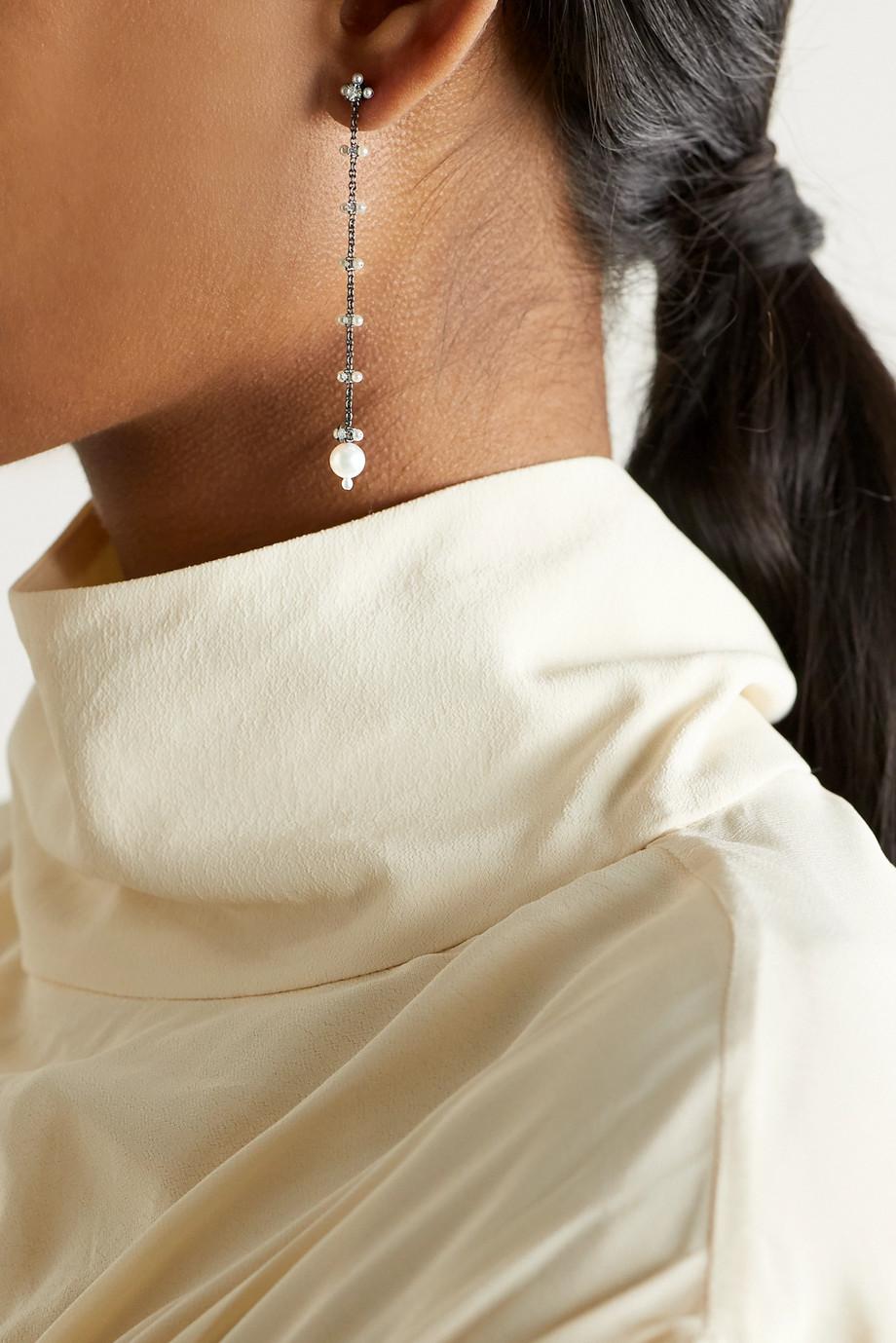 Nadia Morgenthaler + NET SUSTAIN 18-karat blackened white gold, pearl and diamond earrings