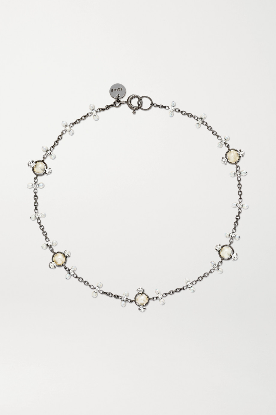 Nadia Morgenthaler + NET SUSTAIN 18-karat recycled blackened white gold, pearl and diamond bracelet