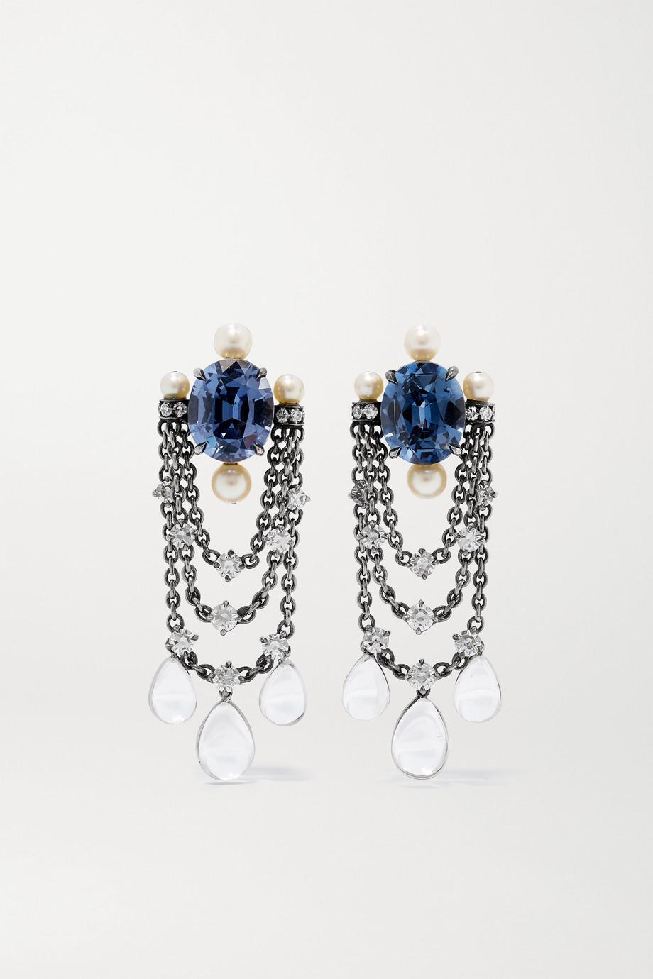 Nadia Morgenthaler + NET SUSTAIN 18-karat blackened white gold multi-stone earrings