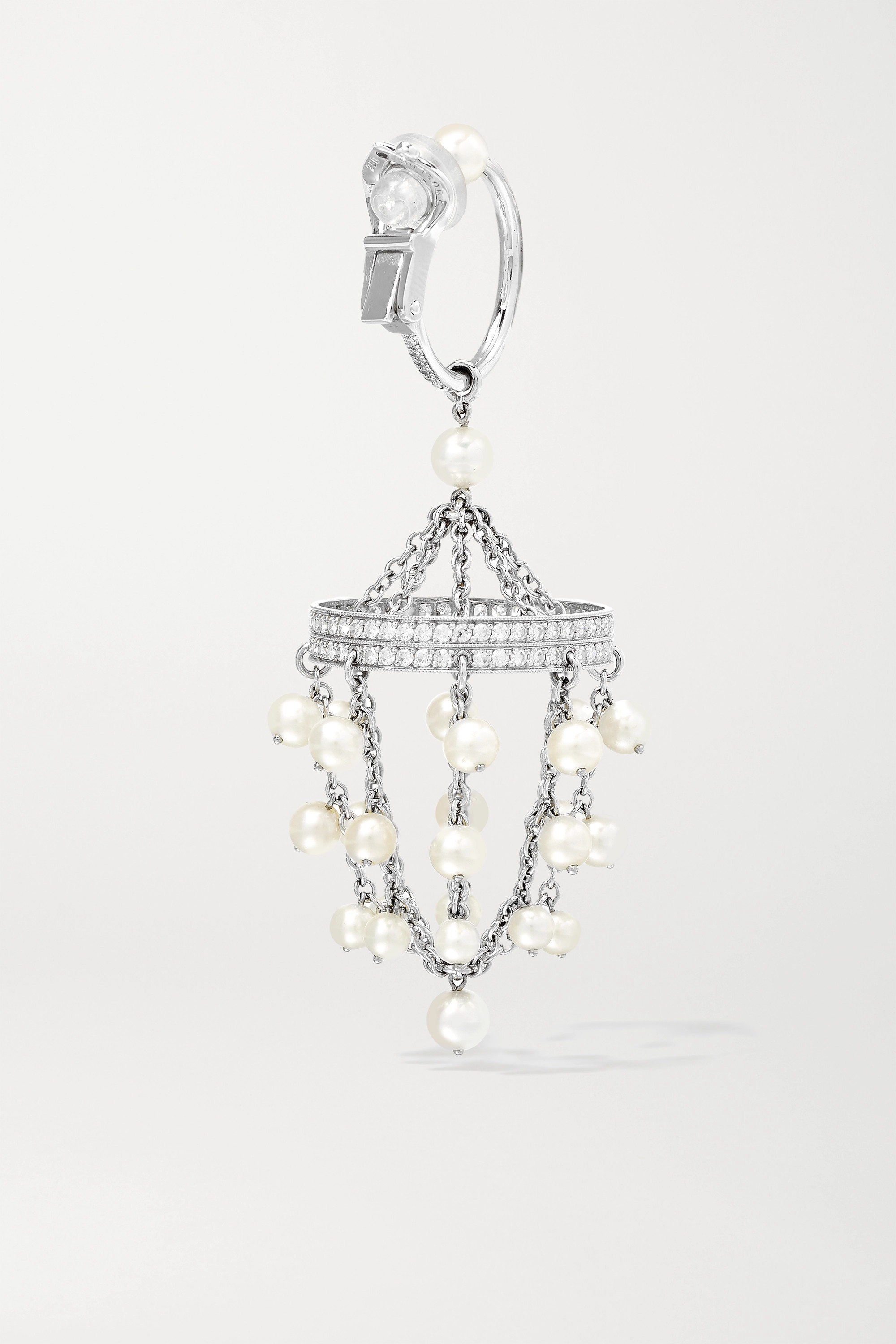 Nadia Morgenthaler + NET SUSTAIN rhodium-plated 18-karat recycled white gold pearl and diamond clip earrings