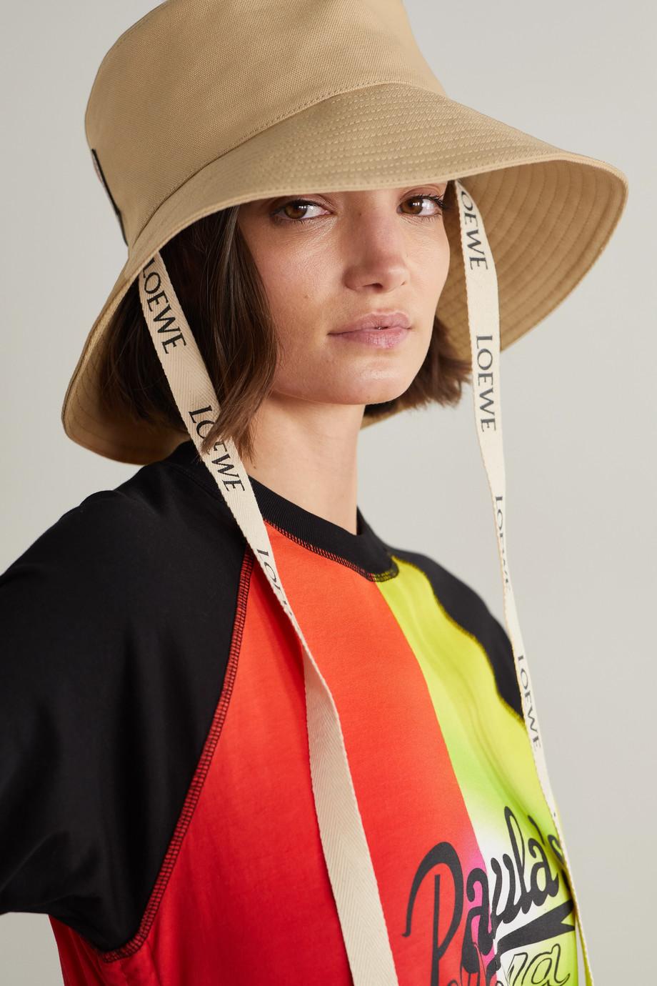 Loewe + Paula's Ibiza leather-trimmed cotton-canvas bucket hat