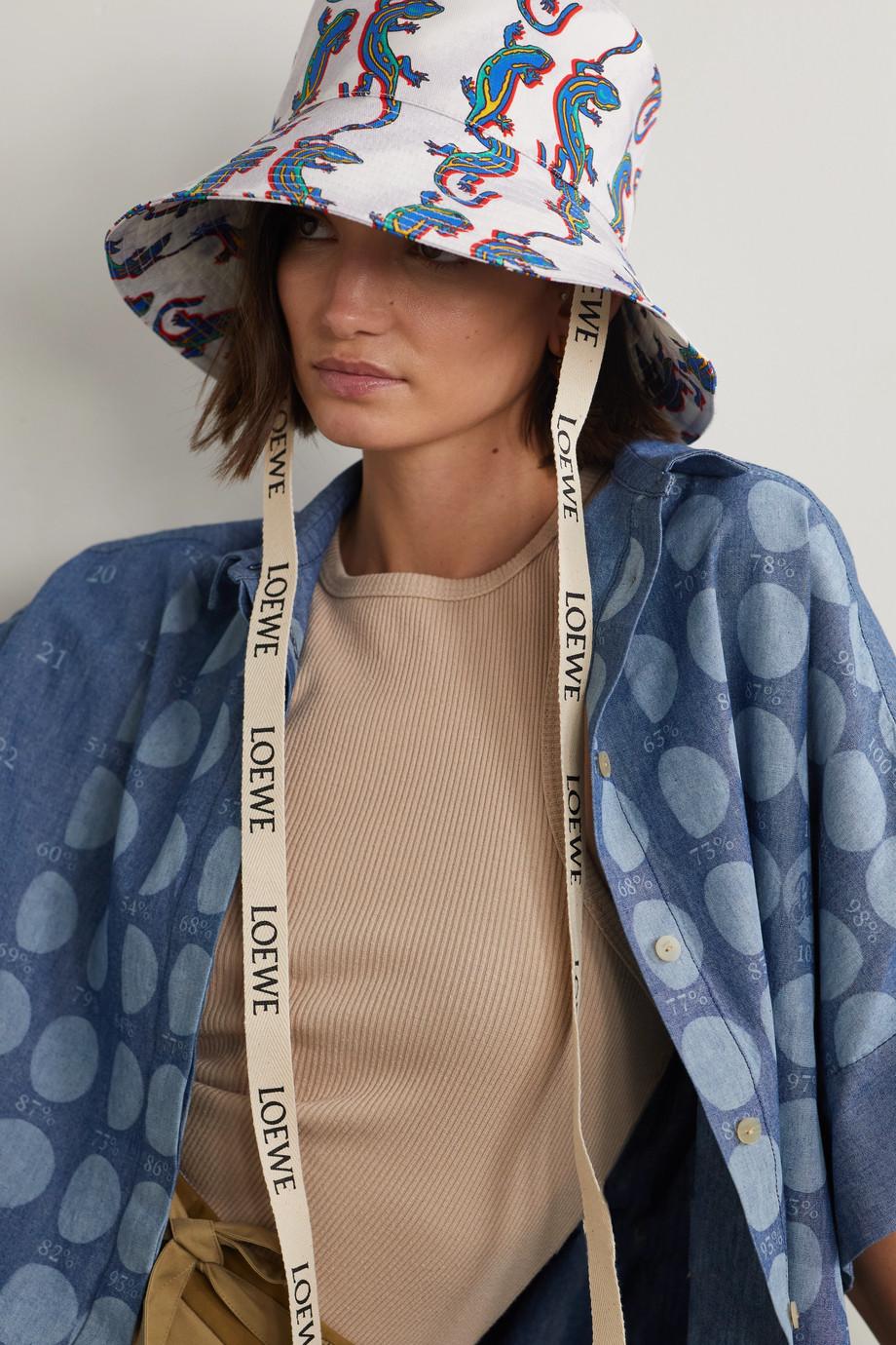 Loewe + Paula's Ibiza Fischerhut aus bedrucktem Baumwoll-Twill mit Lederbesätzen