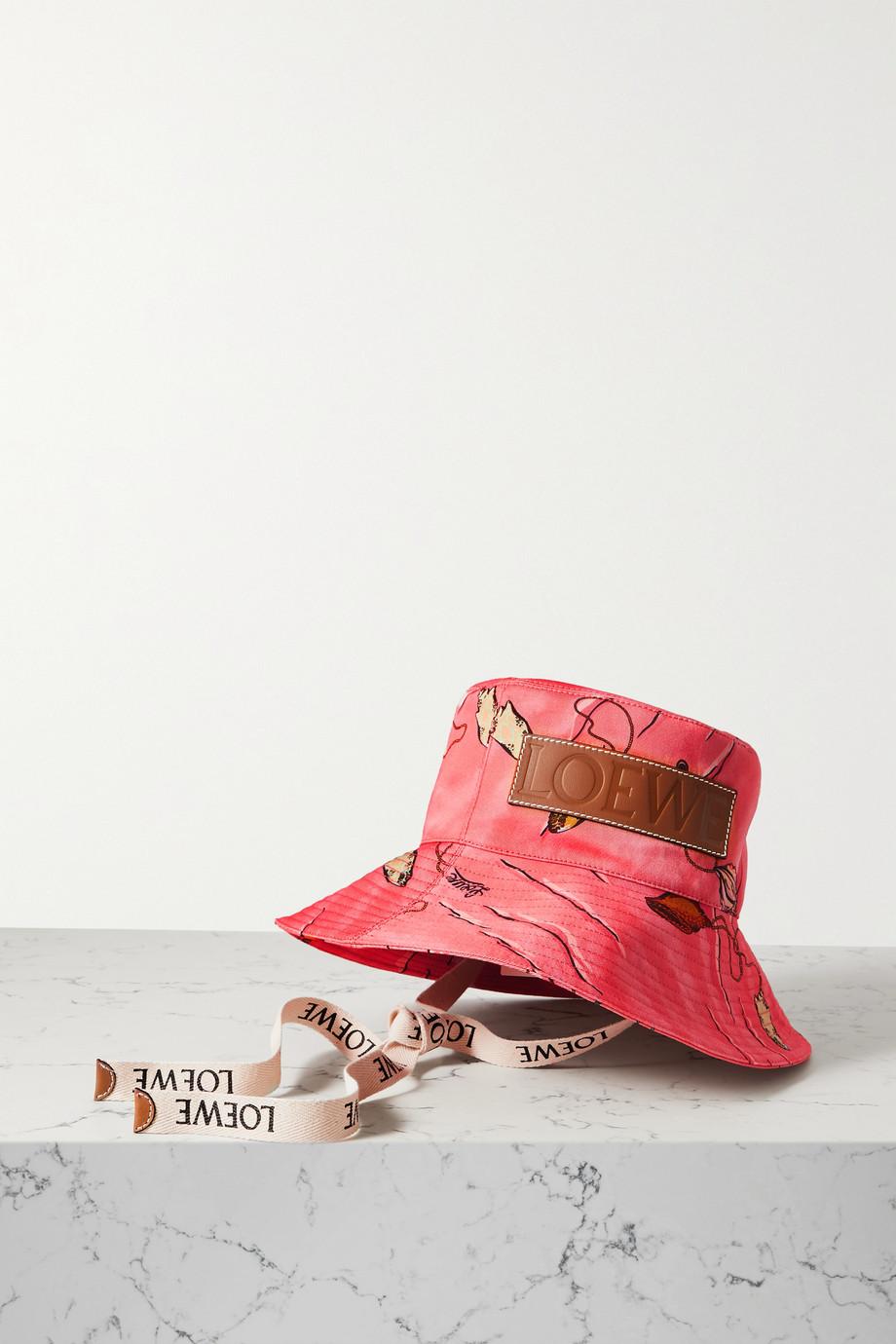 Loewe + Paula's Ibiza leather-trimmed printed cotton-twill bucket hat