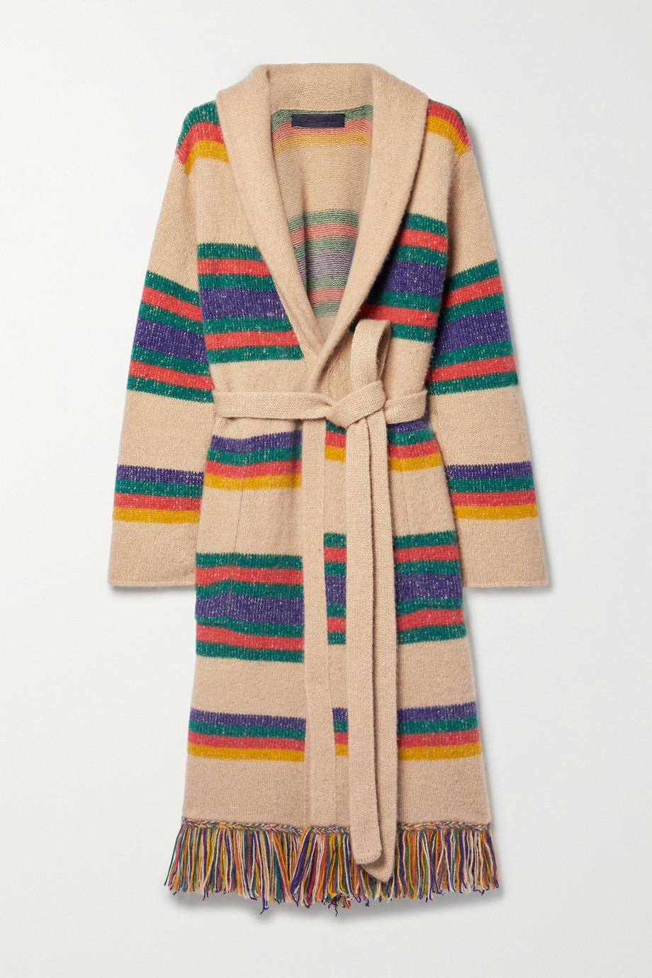 The Elder Statesman Pier fringed striped belted cashmere cardigan