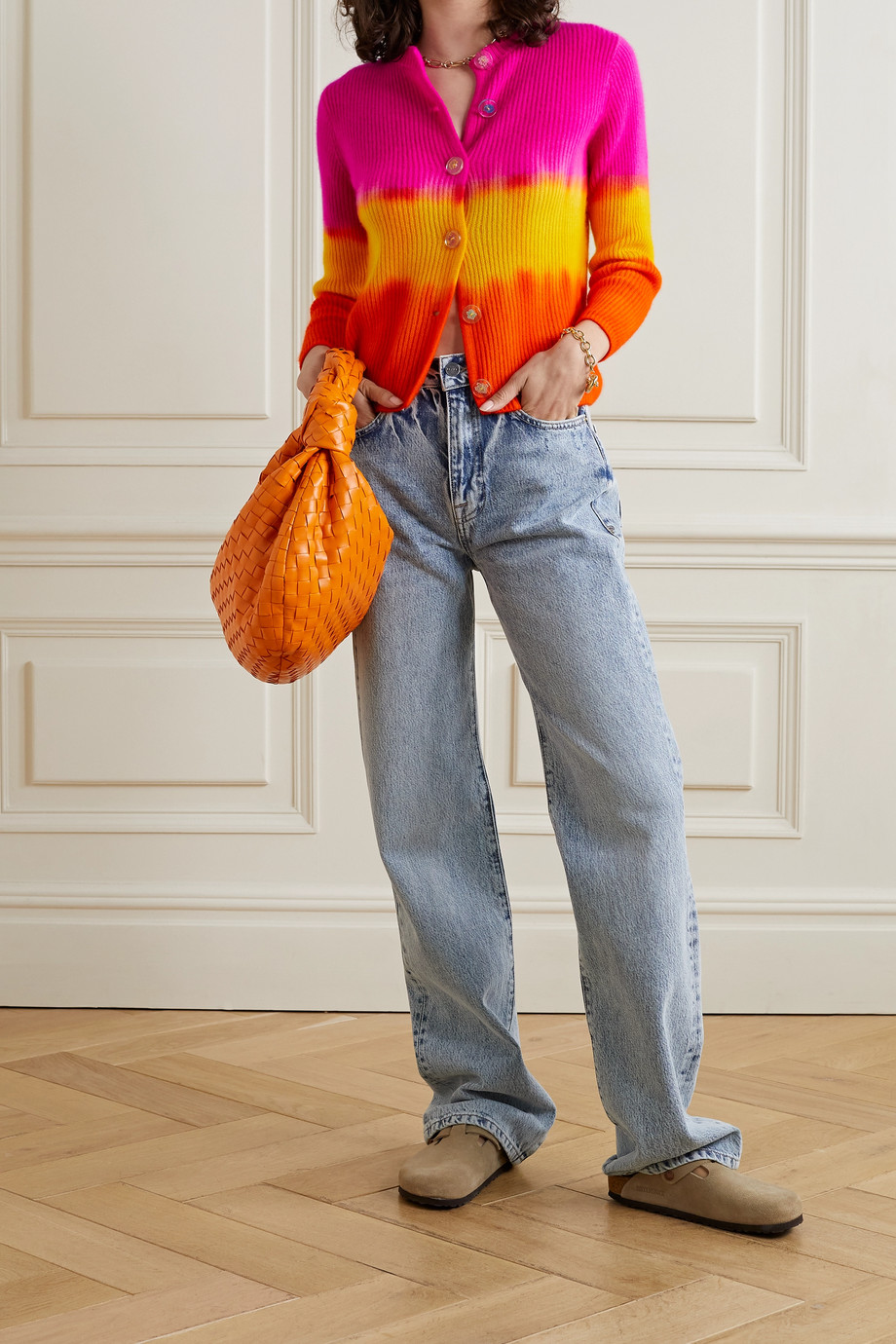 The Elder Statesman Tie-dyed ribbed cashmere cardigan
