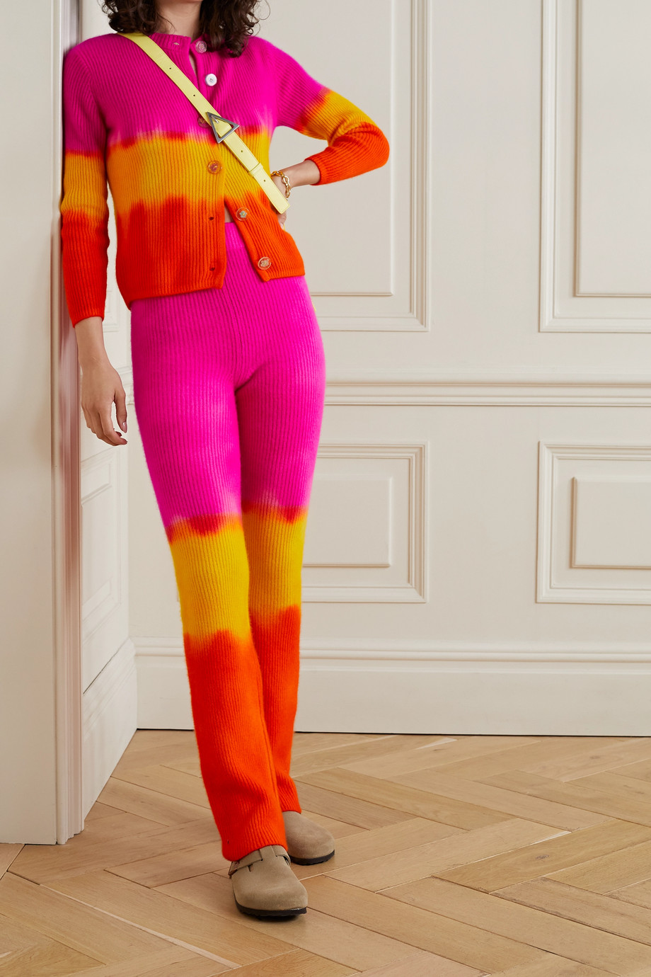 The Elder Statesman Tie-dyed ribbed cashmere-blend flared pants