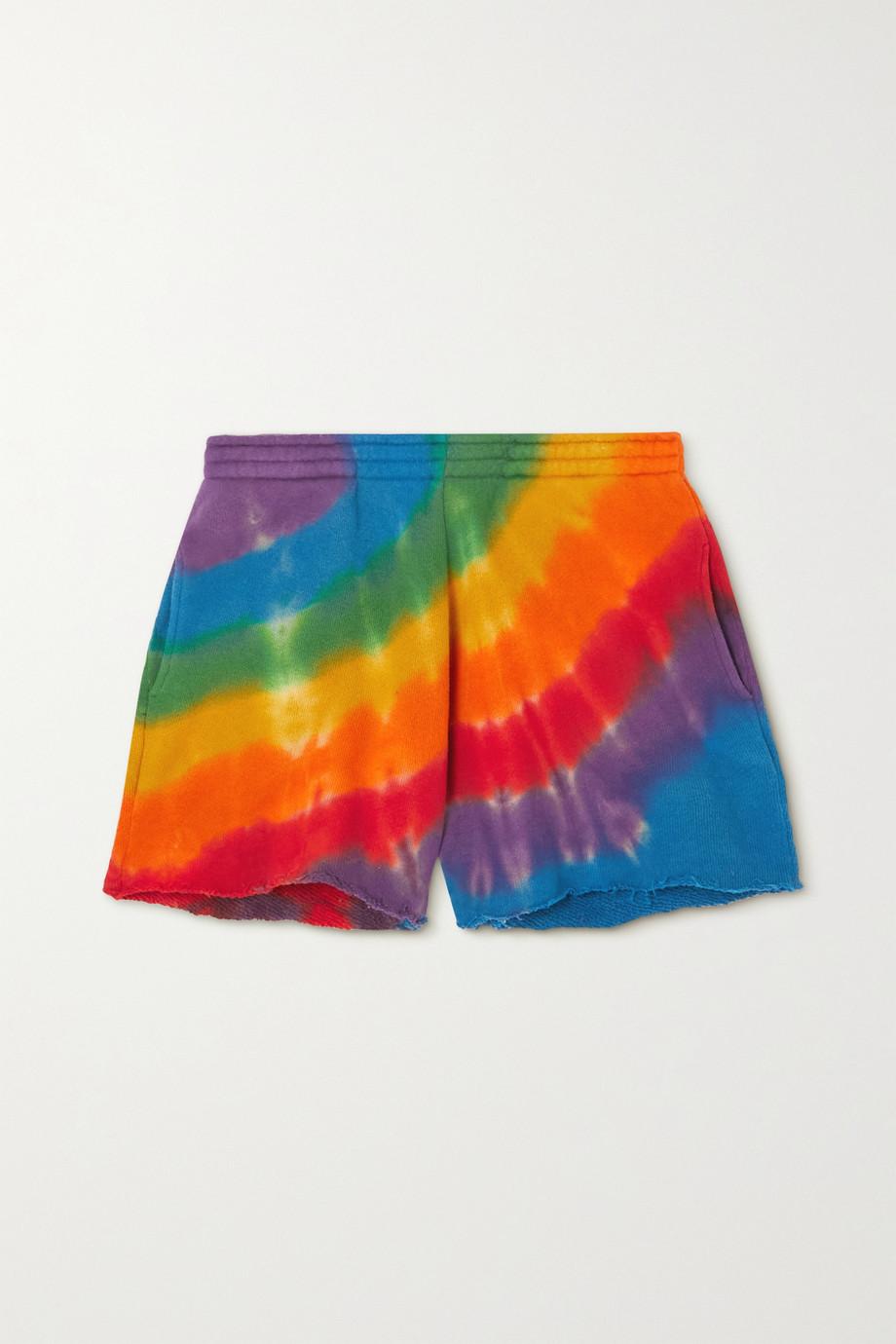 The Elder Statesman Short en jersey de coton et de cachemire mélangés effilé tie & dye Rainbow Void