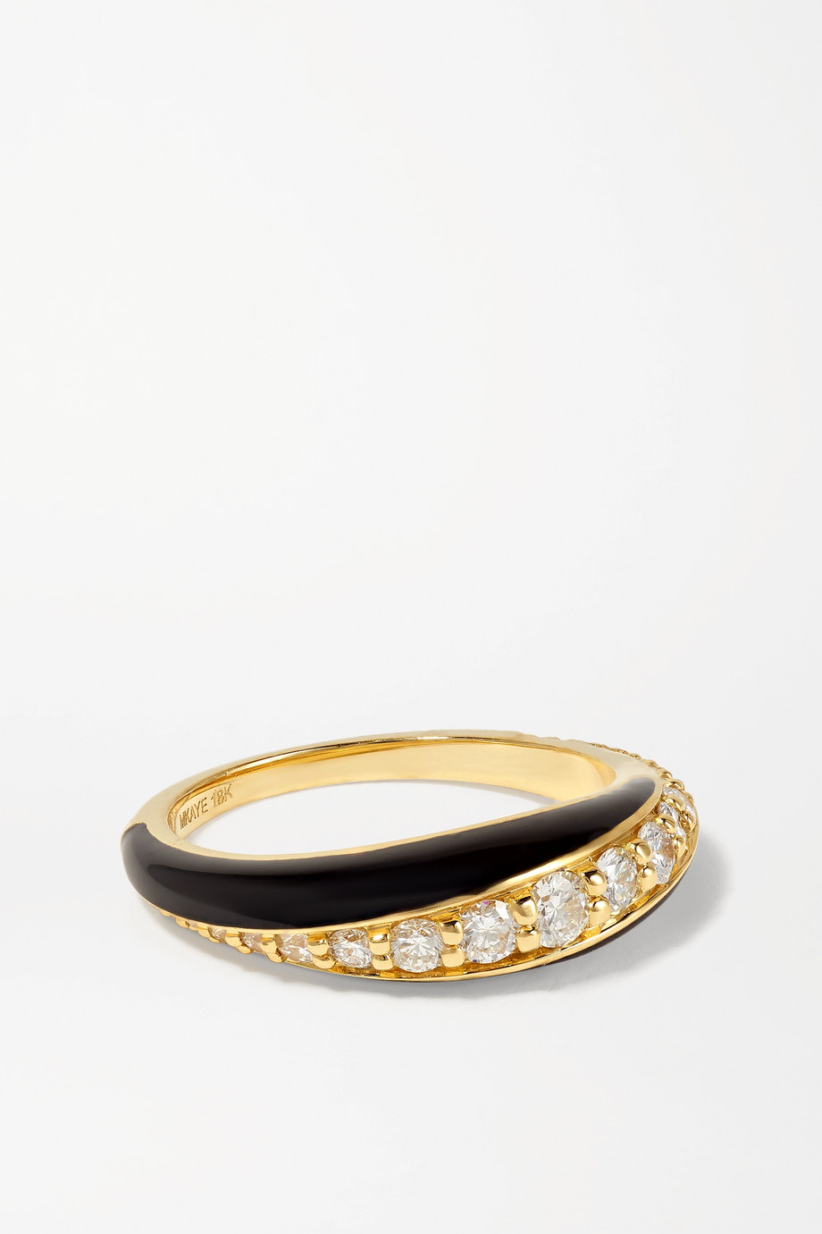 Melissa Kaye Remi small 18-karat gold, diamond and enamel ring