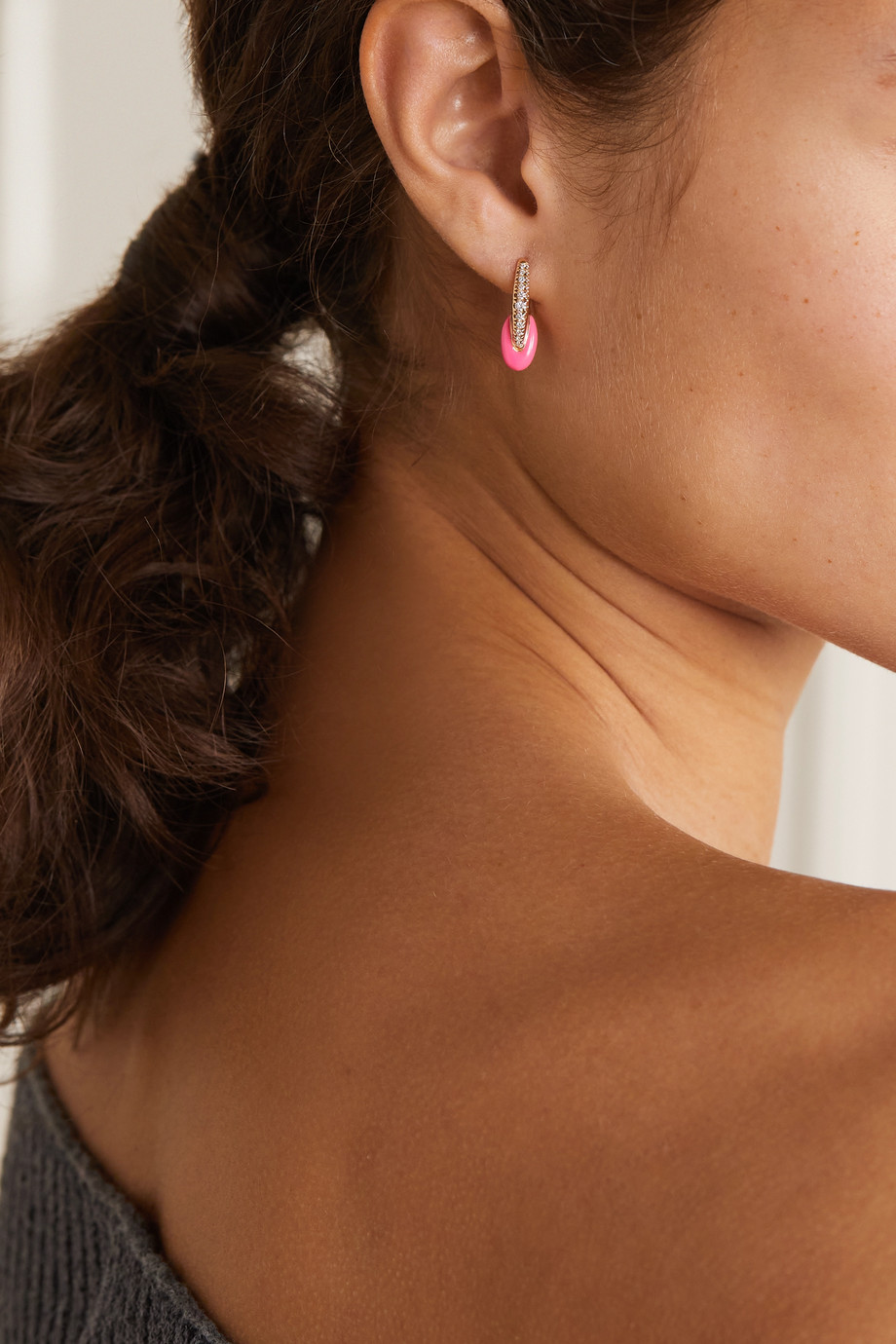 Melissa Kaye Ada 18-karat rose gold, diamond and enamel earrings