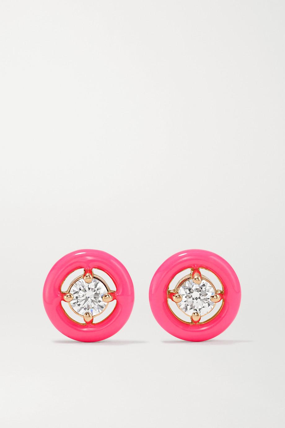 Melissa Kaye Sylvie 18-karat rose gold, enamel and diamond earrings