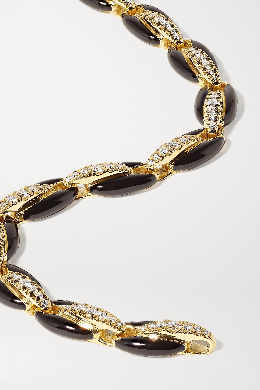 Melissa Kaye Ada Armband aus 18 Karat Gold mit Emaille und Diamanten