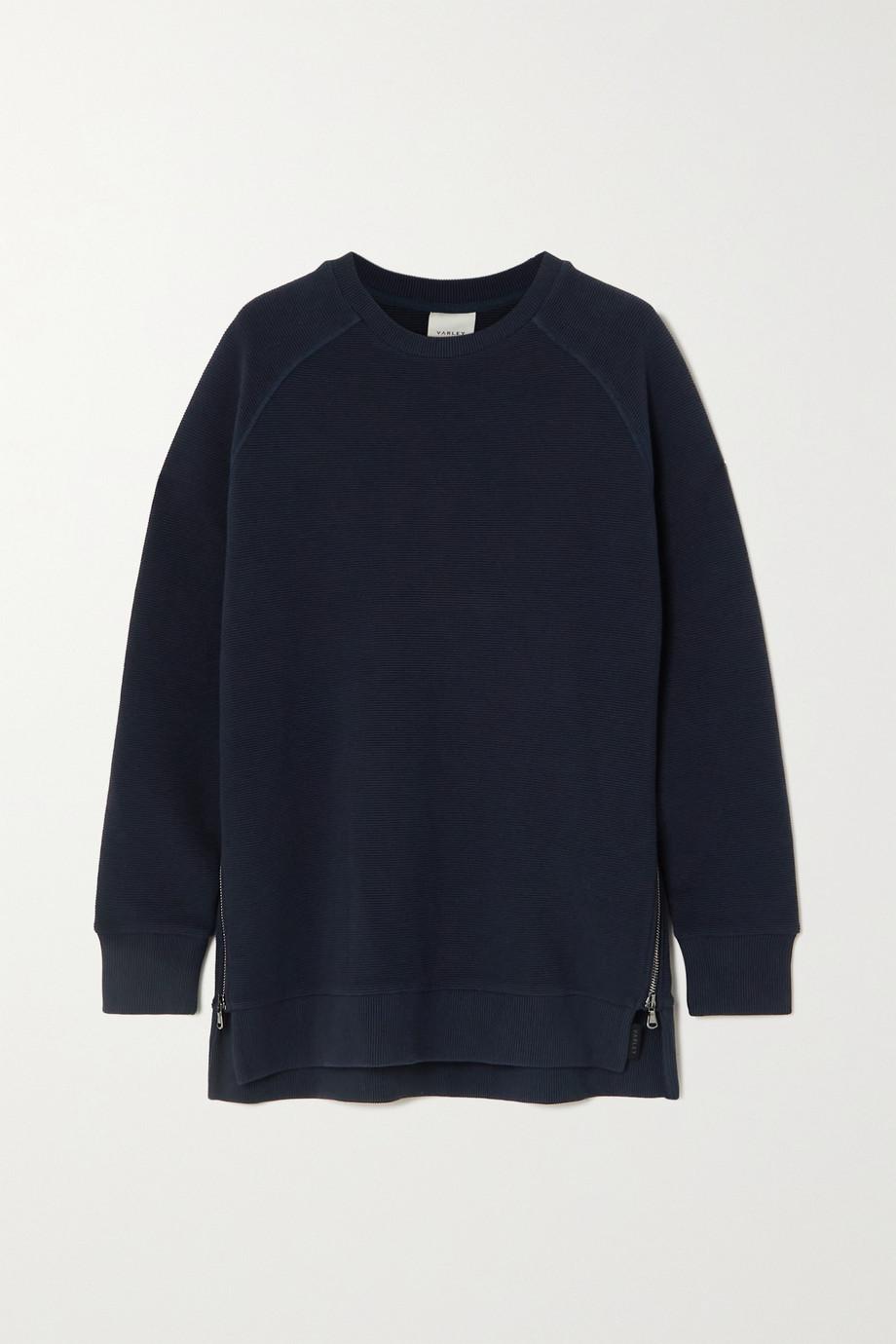 Varley Manning zip-detailed ribbed cotton-blend sweatshirt