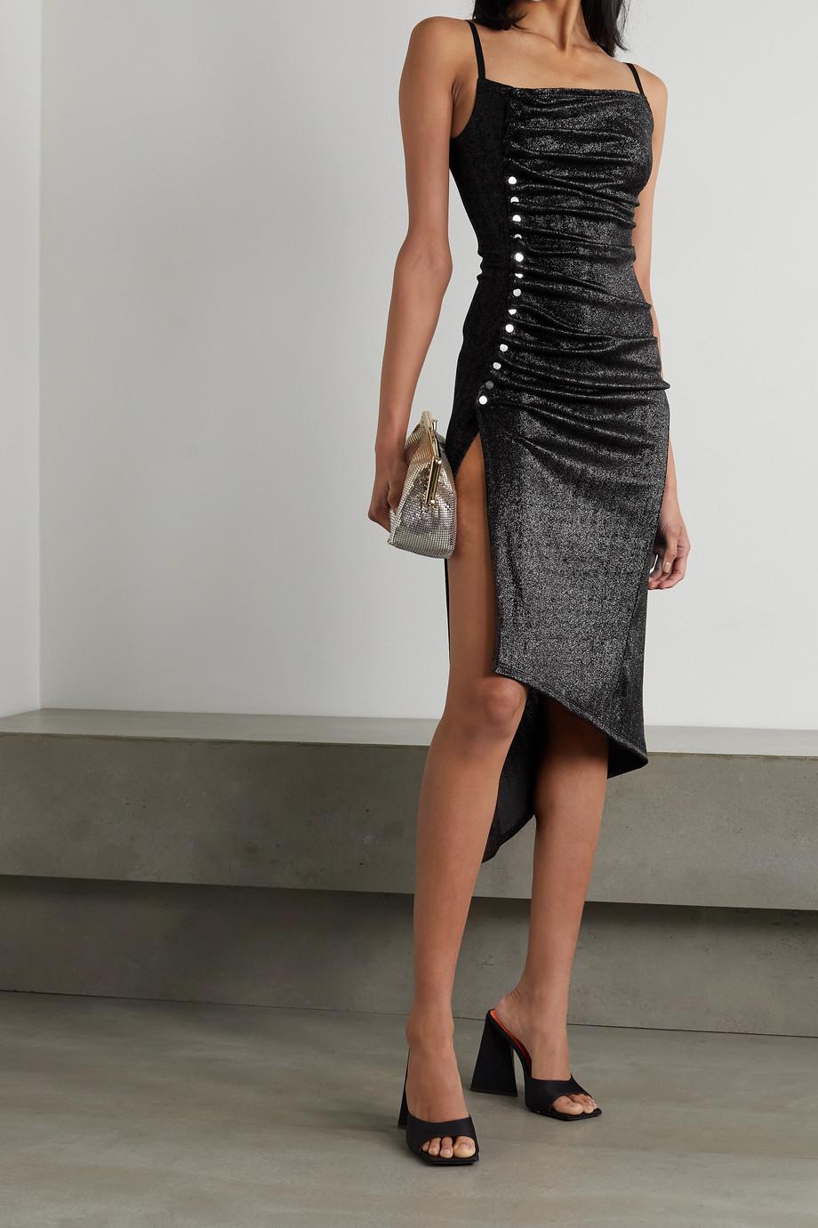 Paco Rabanne Asymmetric ruched metallic stretch-jersey midi dress