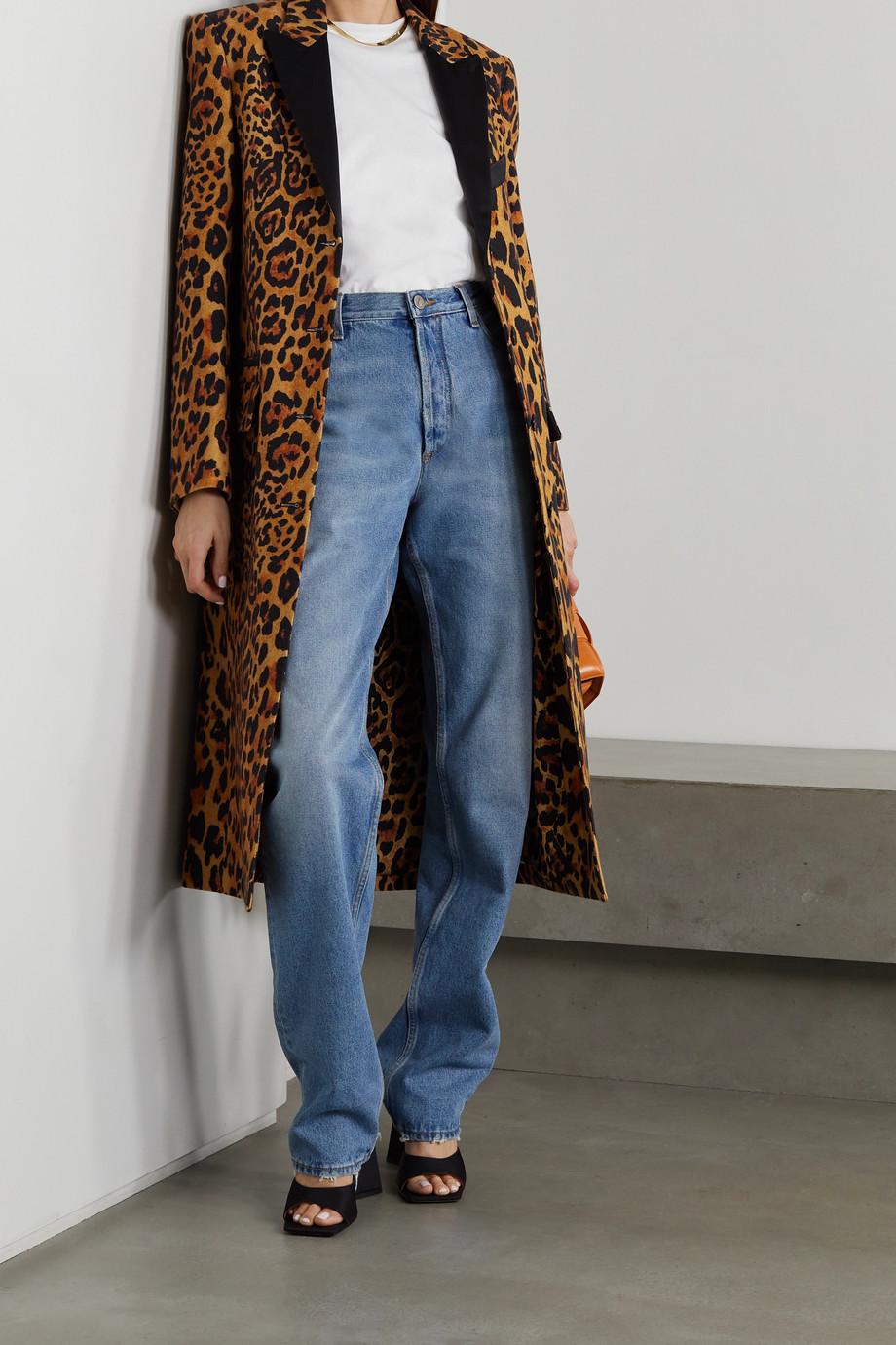 Paco Rabanne Mantel aus einer Wollmischung mit Leopardenprint und Satinbesätzen