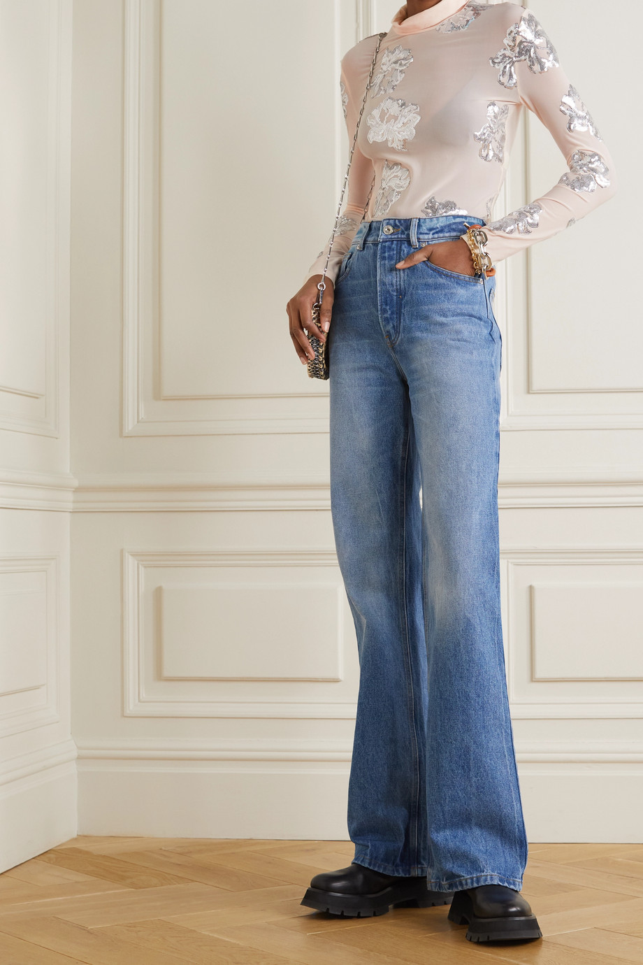 Paco Rabanne Sequin-embellished stretch-jersey turtleneck top