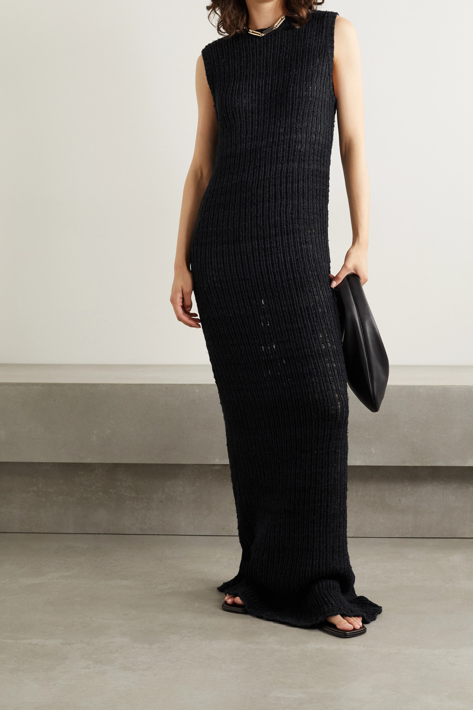 The Row Cutro open-knit silk maxi dress