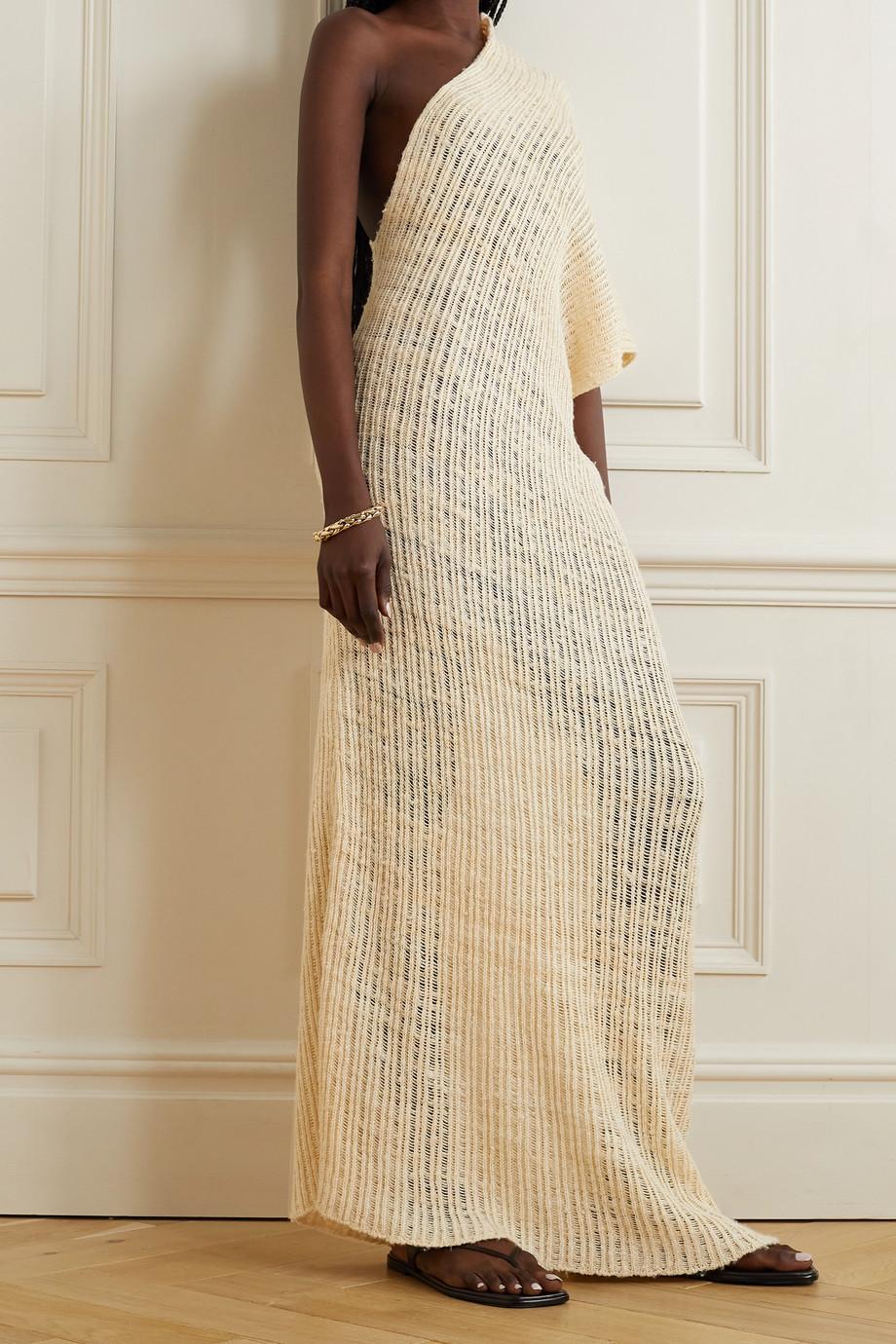The Row Cilvana one-sleeve open-knit silk maxi dress