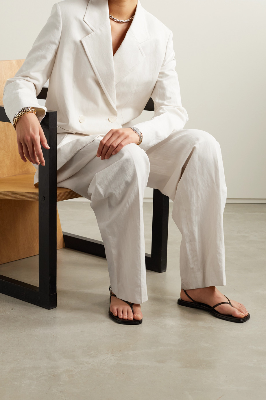 The Row Tihana doppelreihiger Blazer aus Gabardine aus einer Baumwoll-Leinenmischung
