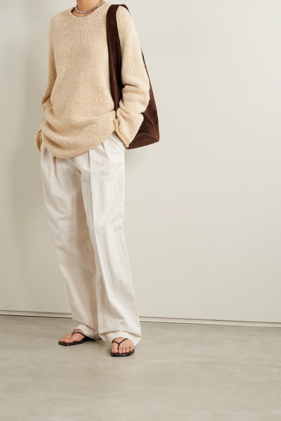 The Row Igor Hose mit weitem Bein aus Twill aus einer Baumwoll-Leinenmischung mit Falten