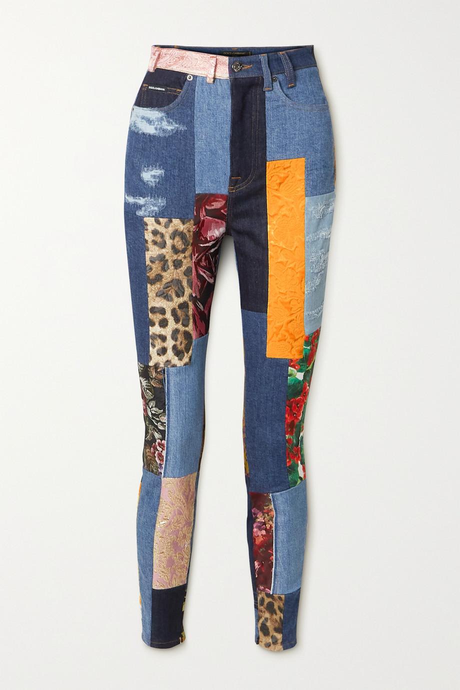 Dolce & Gabbana Patchwork printed cotton-blend skinny jeans