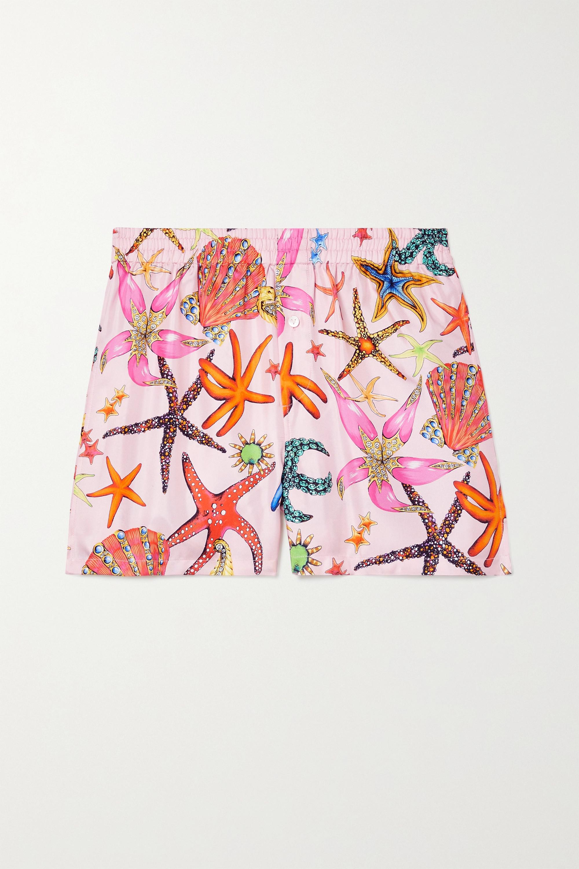 Versace La Medusa Pyjama-Shorts aus bedrucktem Seiden-Twill