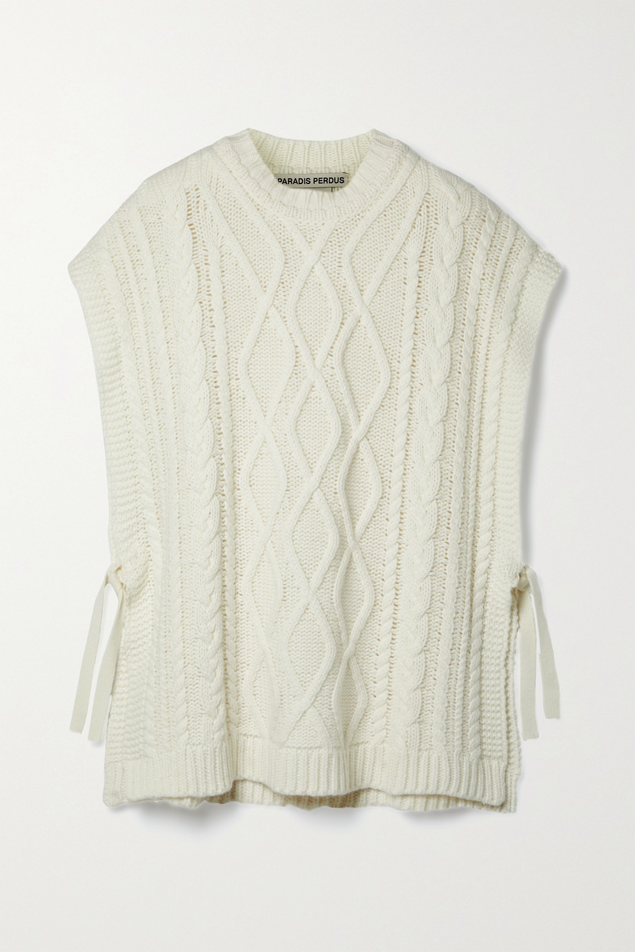 Paradis Perdus + NET SUSTAIN Vasco cable-knit recycled merino wool-blend poncho