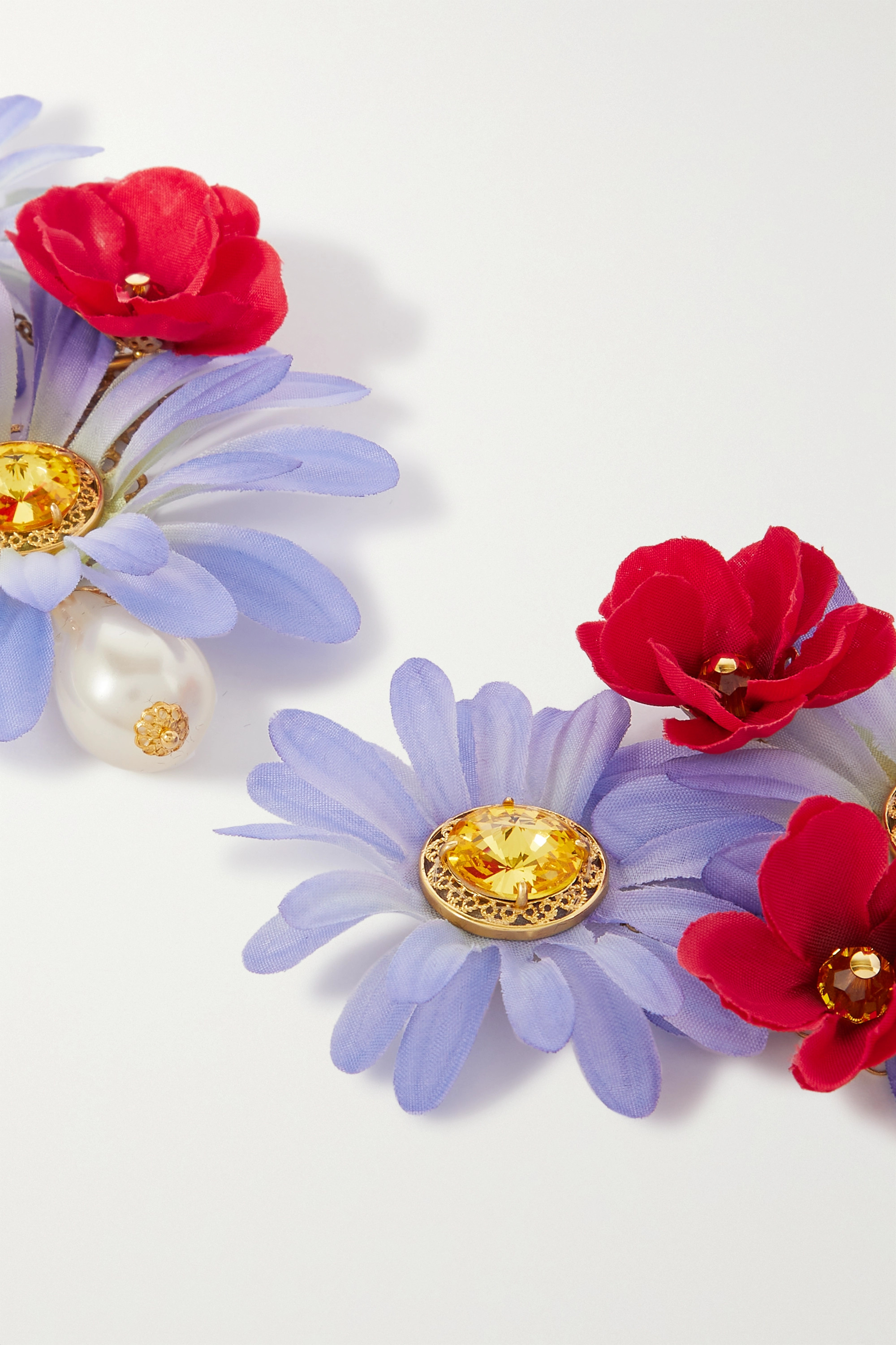 Dolce & Gabbana Oversized gold-tone, crystal and faux pearl clip earrings