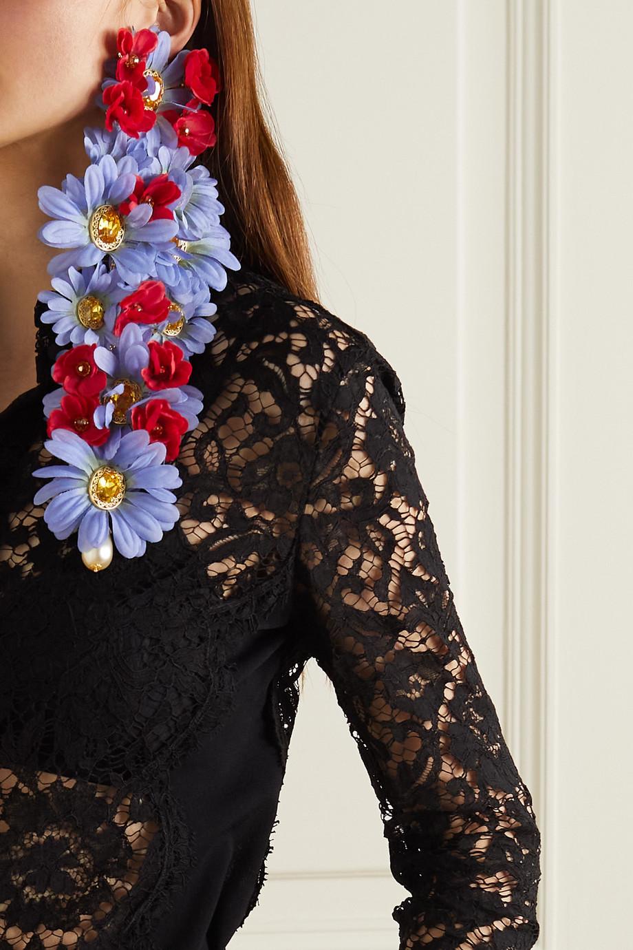 Dolce & Gabbana Boucles d'oreilles clip oversize en métal doré, cristaux et perles synthétiques